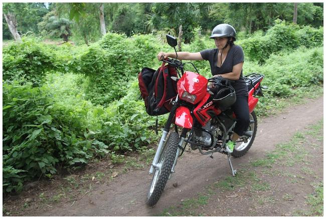 Julie on the motorcycle in Ometepe