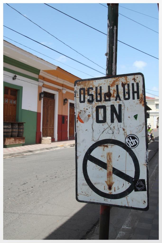 Street signage in Granada, Nicaragua